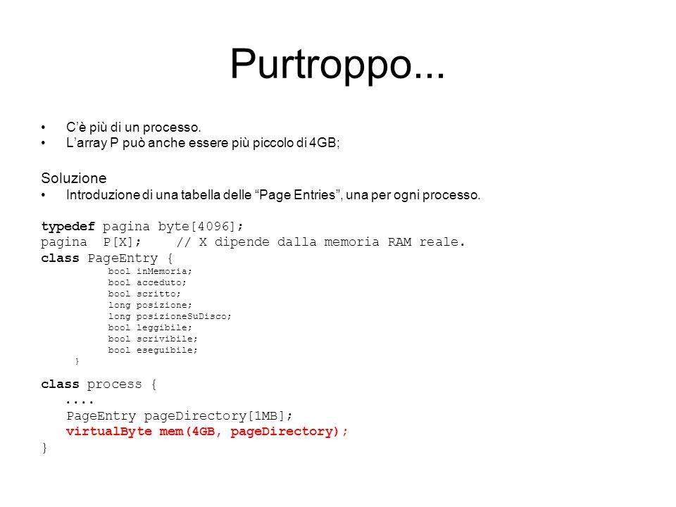 """Purtroppo... C'è più di un processo. L'array P può anche essere più piccolo di 4GB; Soluzione Introduzione di una tabella delle """"Page Entries"""", una pe"""
