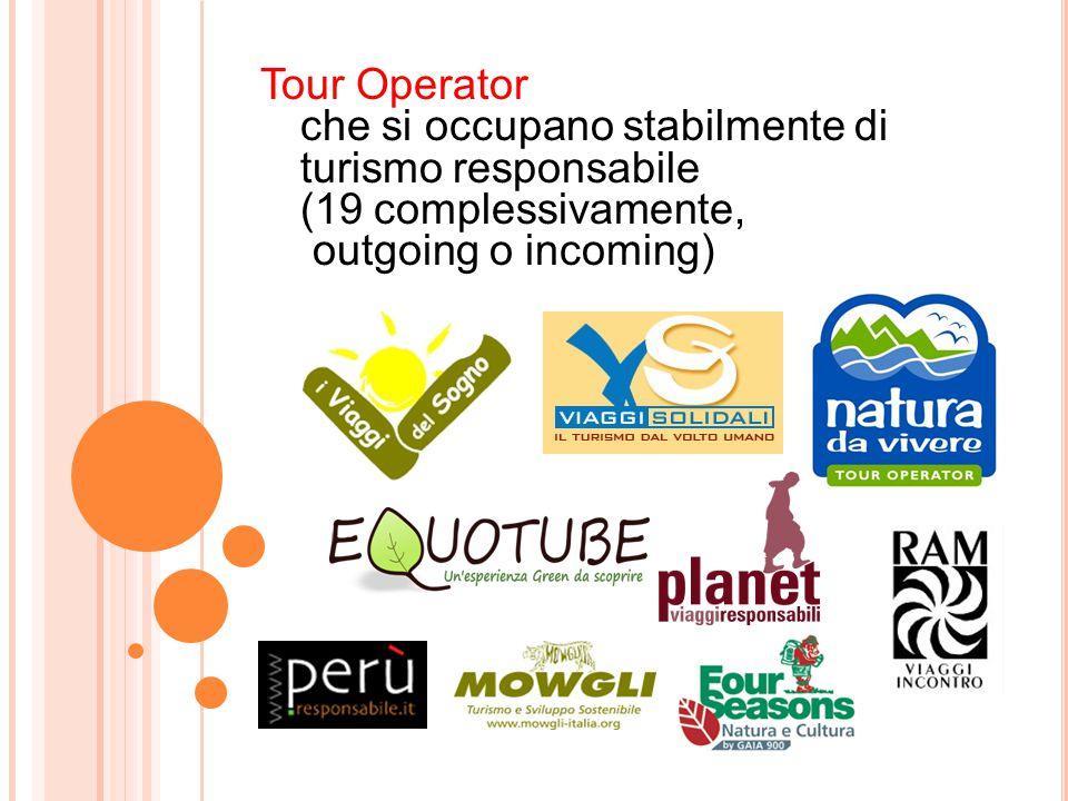 Tour Operator che si occupano stabilmente di turismo responsabile (19 complessivamente, outgoing o incoming)