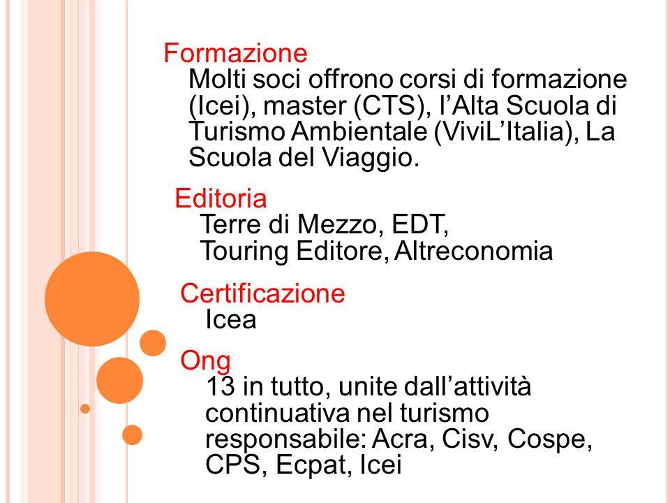 Formazione Molti soci offrono corsi di formazione (Icei), master (CTS), l'Alta Scuola di Turismo Ambientale (ViviL'Italia), La Scuola del Viaggio.