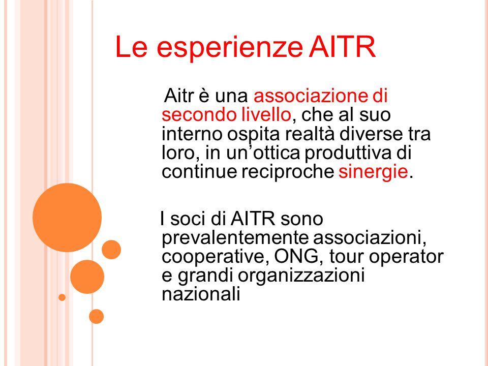 Le esperienze AITR Aitr è una associazione di secondo livello, che al suo interno ospita realtà diverse tra loro, in un'ottica produttiva di continue reciproche sinergie.