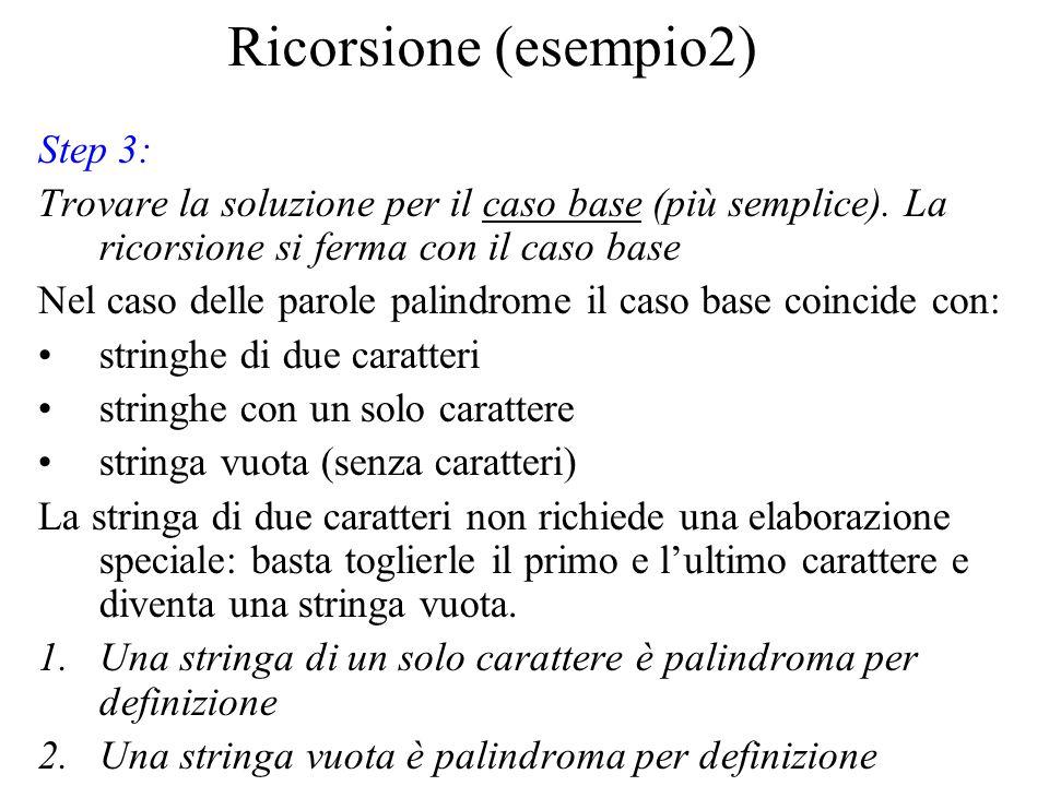 Ricorsione (esempio2) Step 3: Trovare la soluzione per il caso base (più semplice).