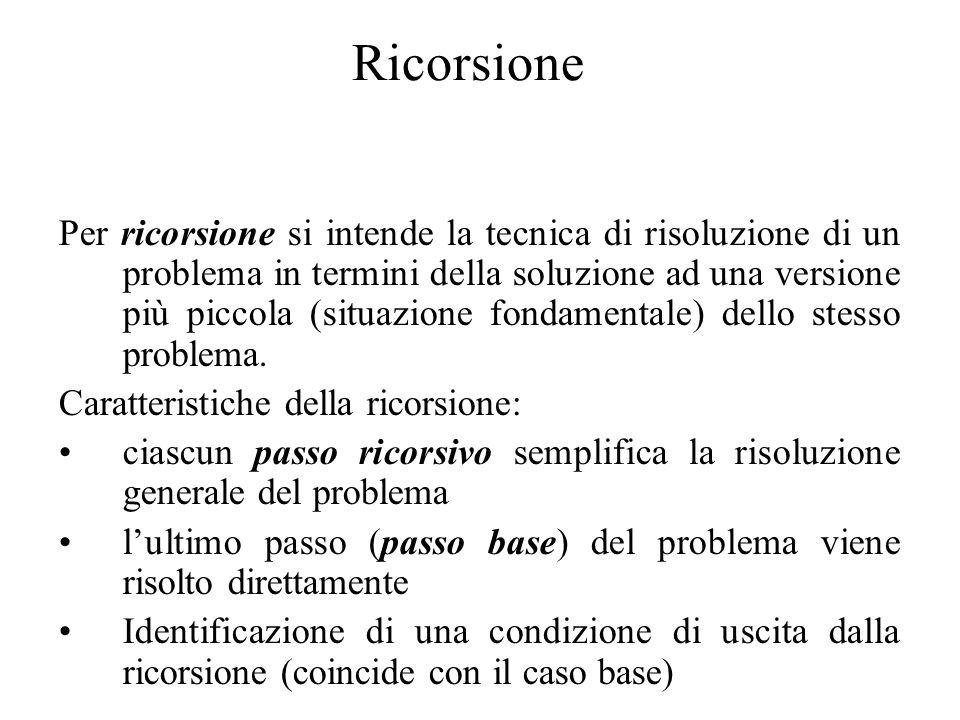 Ricorsione Per ricorsione si intende la tecnica di risoluzione di un problema in termini della soluzione ad una versione più piccola (situazione fondamentale) dello stesso problema.