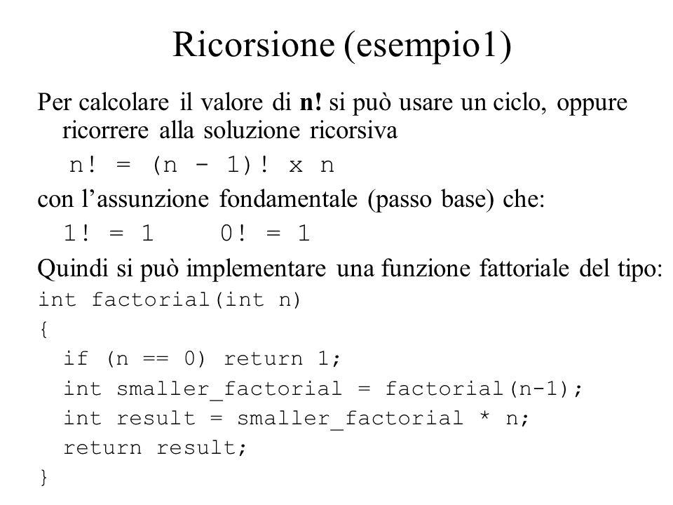 Ricorsione (esempio1) Una funzione che generi tutte le permutazioni di una parola è data da vector generate_permutations(string word); Tutte le permutazioni della stringa eat sono date da: vector v= generate_permutations( eat ); for(int i = 0; i < v.size(); i++) cout << v[i] << \n ;