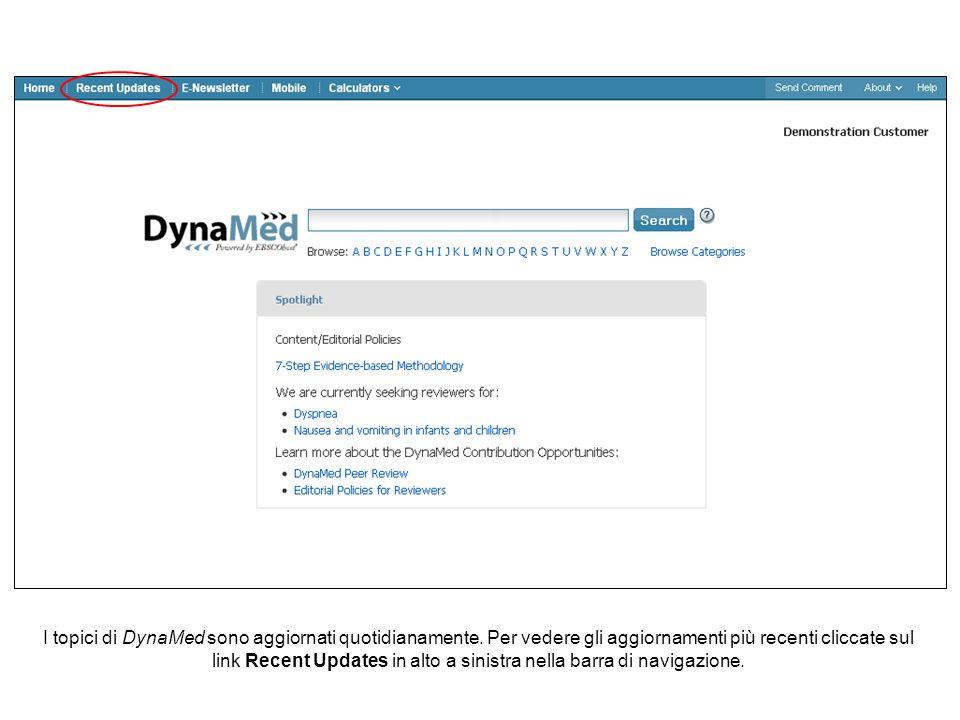 I topici di DynaMed sono aggiornati quotidianamente.