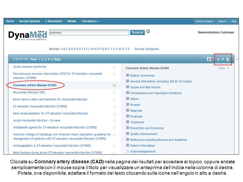 Cliccate su Coronary artery disease (CAD) nella pagina dei risultati per accedere al topico, oppure andate semplicemente con il mouse sopra il titolo per visualizzare un anteprima dell'indice nella colonna di destra.