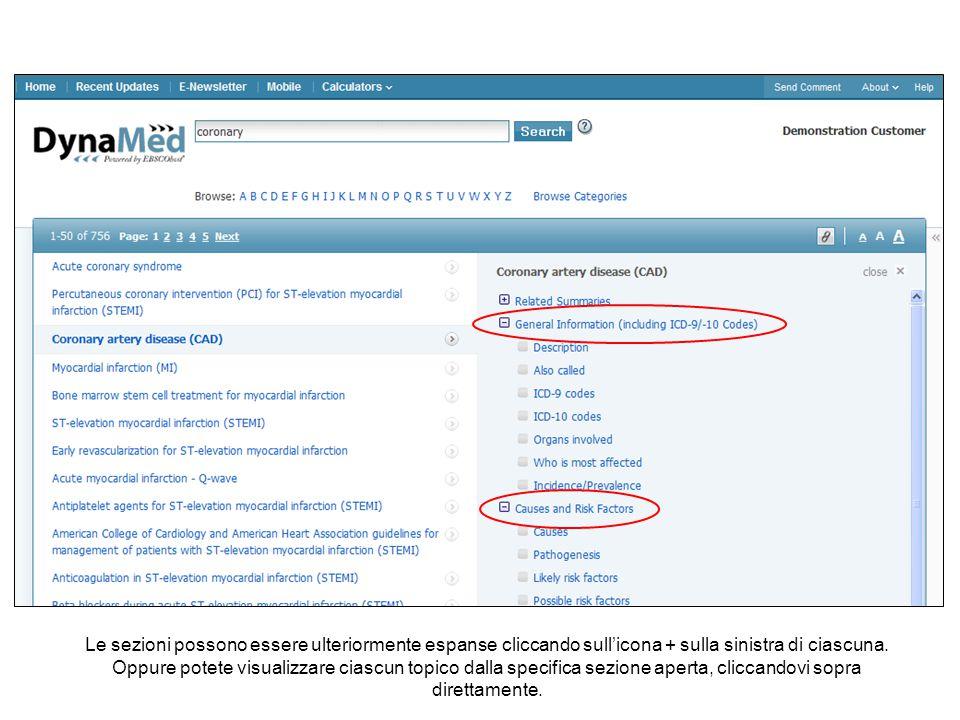 Potete anche percorrere i topici di DynaMed per categoria.