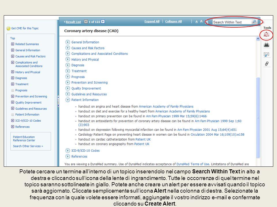 Potete cercare un termine all'interno di un topico inserendolo nel campo Search Within Text in alto a destra e cliccando sull'icona della lente di ing