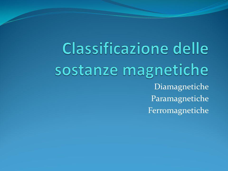 Diamagnetiche Paramagnetiche Ferromagnetiche