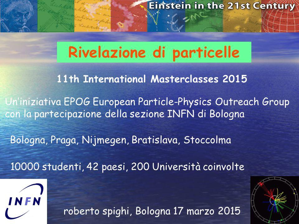 1 Rivelazione di particelle roberto spighi, Bologna 17 marzo 2015 11th International Masterclasses 2015 Un'iniziativa EPOG European Particle-Physics O