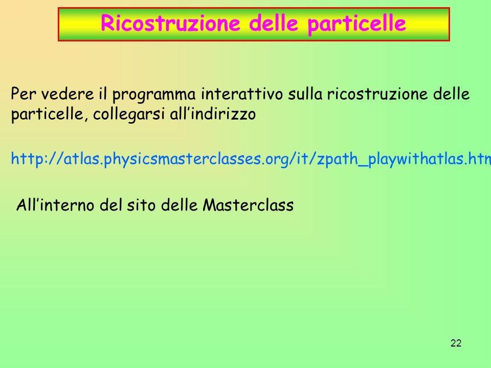 22 Ricostruzione delle particelle Per vedere il programma interattivo sulla ricostruzione delle particelle, collegarsi all'indirizzo All'interno del s