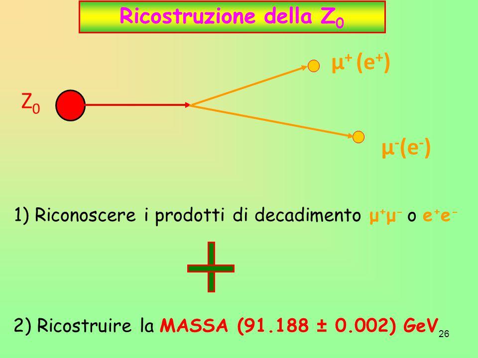 26 Ricostruzione della Z 0 Z0Z0 μ + (e + ) μ - (e - ) 1) Riconoscere i prodotti di decadimento μ + μ - o e + e - 2) Ricostruire la MASSA (91.188 ± 0.0