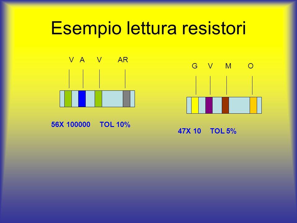 Esempio lettura resistori V A V AR 56X 100000 TOL 10% G V M O 47X 10 TOL 5%