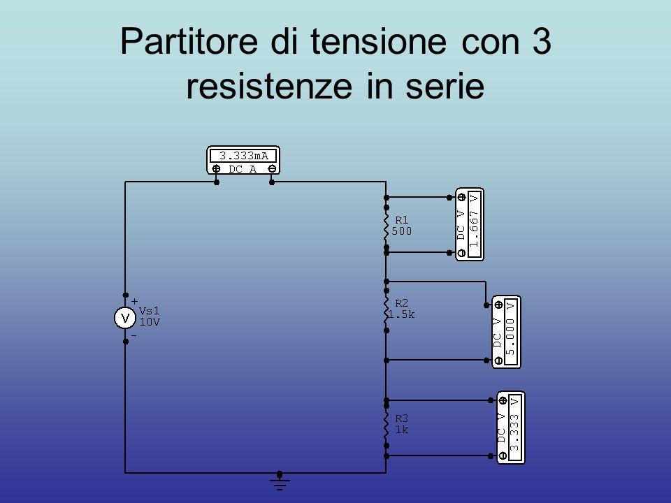 Partitore di tensione con 3 resistenze in serie