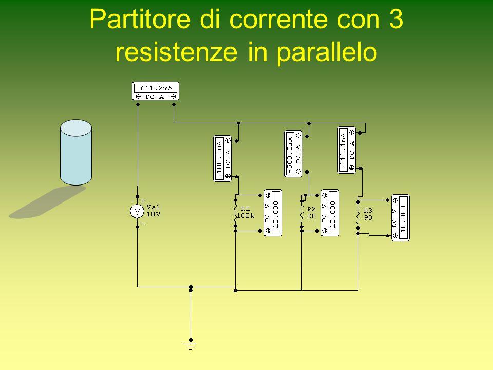 Partitore di corrente con 3 resistenze in parallelo
