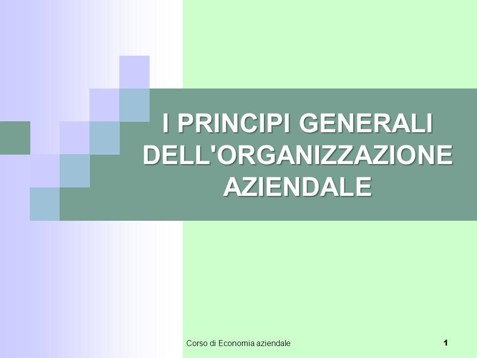I PRINCIPI GENERALI DELL'ORGANIZZAZIONE AZIENDALE 1 Corso di Economia aziendale