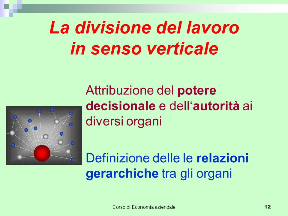 La divisione del lavoro in senso verticale Attribuzione del potere decisionale e dell'autorità ai diversi organi Definizione delle le relazioni gerarchiche tra gli organi Corso di Economia aziendale 12