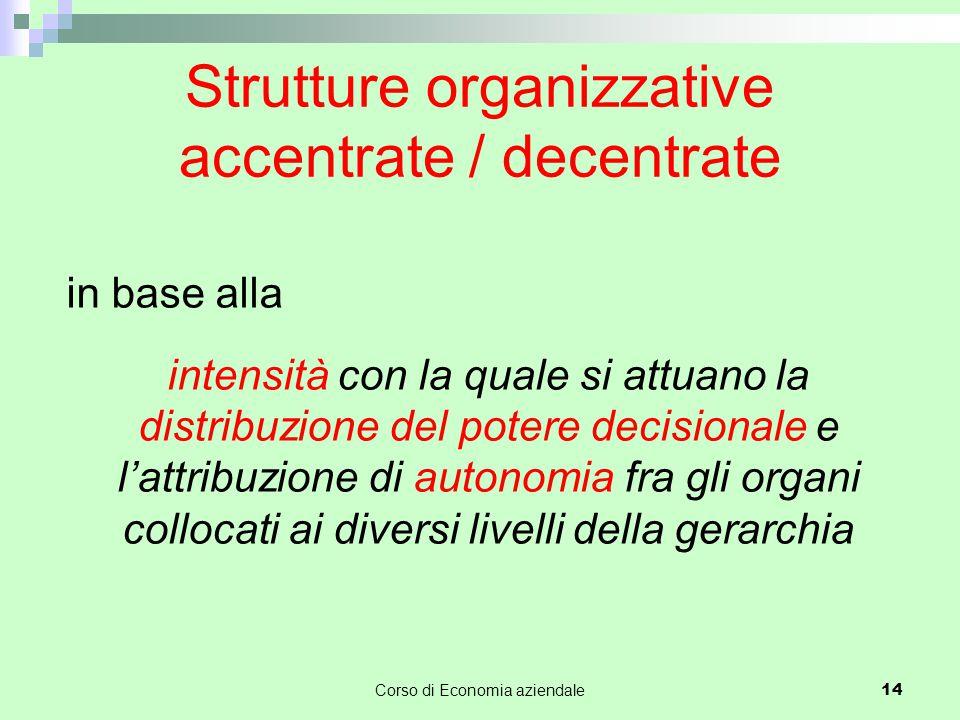 Strutture organizzative accentrate / decentrate in base alla intensità con la quale si attuano la distribuzione del potere decisionale e l'attribuzione di autonomia fra gli organi collocati ai diversi livelli della gerarchia Corso di Economia aziendale 14