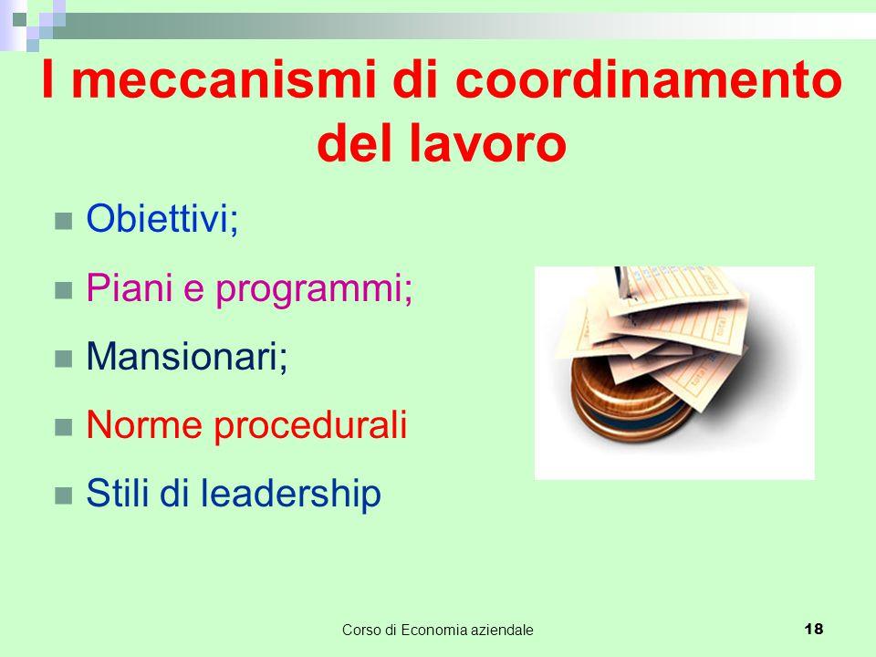I meccanismi di coordinamento del lavoro Obiettivi; Piani e programmi; Mansionari; Norme procedurali Stili di leadership Corso di Economia aziendale 1