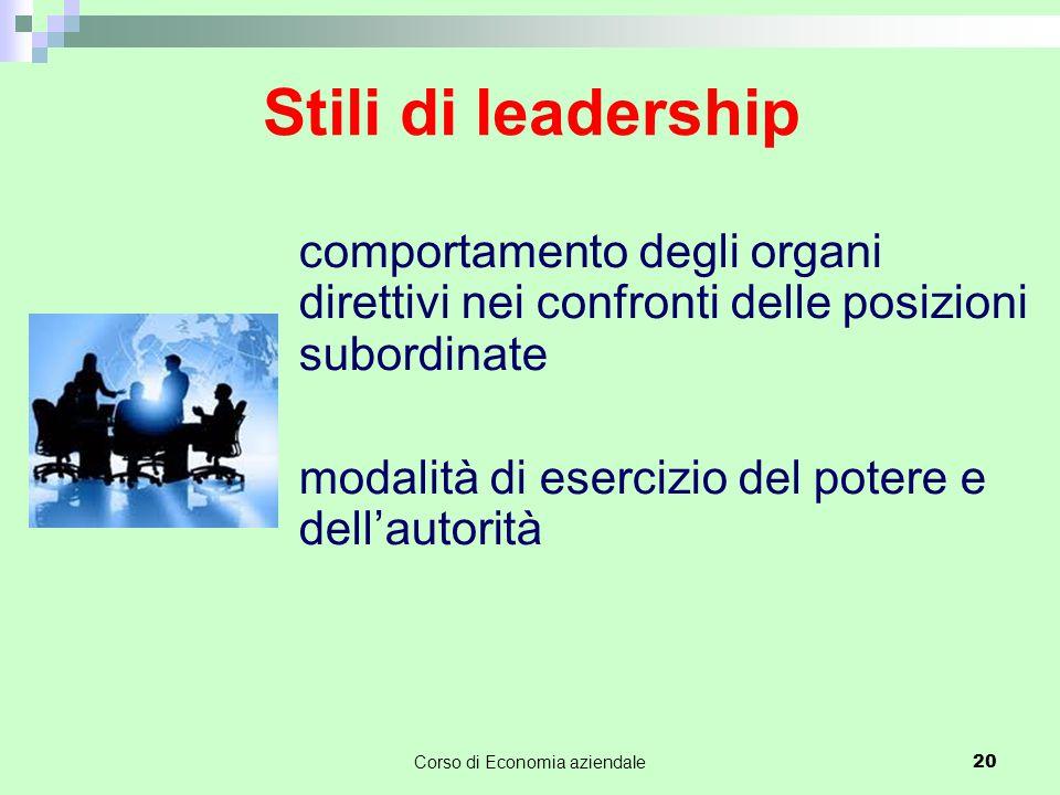 Stili di leadership comportamento degli organi direttivi nei confronti delle posizioni subordinate modalità di esercizio del potere e dell'autorità Co