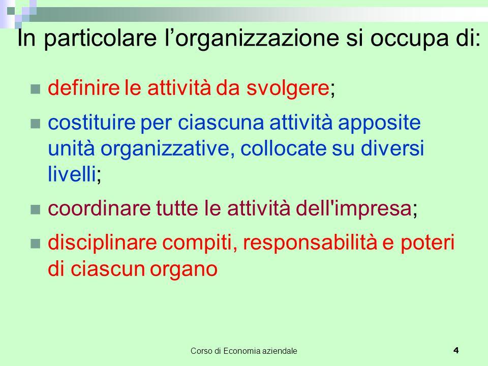 In particolare l'organizzazione si occupa di: definire le attività da svolgere; costituire per ciascuna attività apposite unità organizzative, colloca