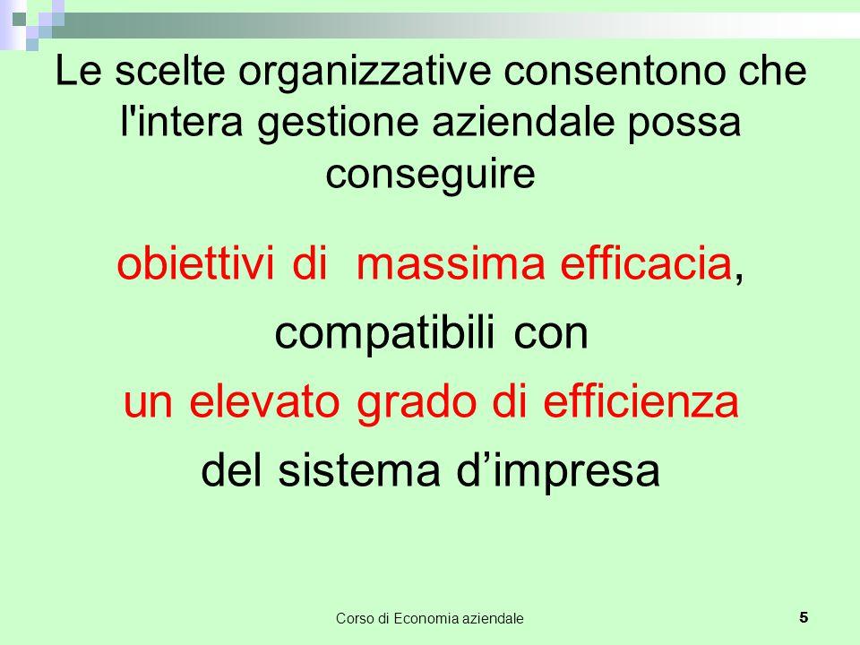 Le scelte organizzative consentono che l intera gestione aziendale possa conseguire obiettivi di massima efficacia, compatibili con un elevato grado di efficienza del sistema d'impresa Corso di Economia aziendale 5