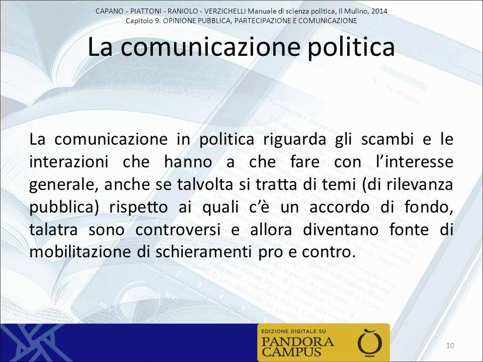 CAPANO - PIATTONI - RANIOLO - VERZICHELLI Manuale di scienza politica, Il Mulino, 2014 Capitolo 9. OPINIONE PUBBLICA, PARTECIPAZIONE E COMUNICAZIONE L