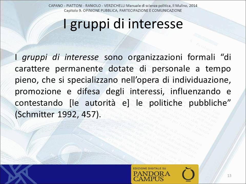 CAPANO - PIATTONI - RANIOLO - VERZICHELLI Manuale di scienza politica, Il Mulino, 2014 Capitolo 9. OPINIONE PUBBLICA, PARTECIPAZIONE E COMUNICAZIONE I