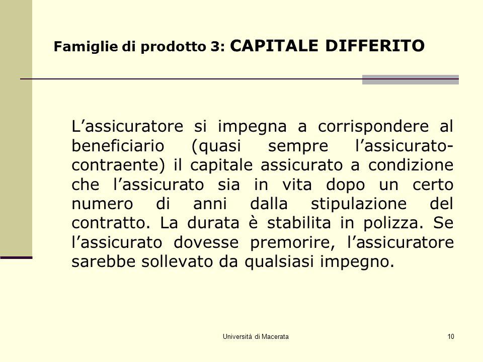 Università di Macerata10 Famiglie di prodotto 3: CAPITALE DIFFERITO L'assicuratore si impegna a corrispondere al beneficiario (quasi sempre l'assicura