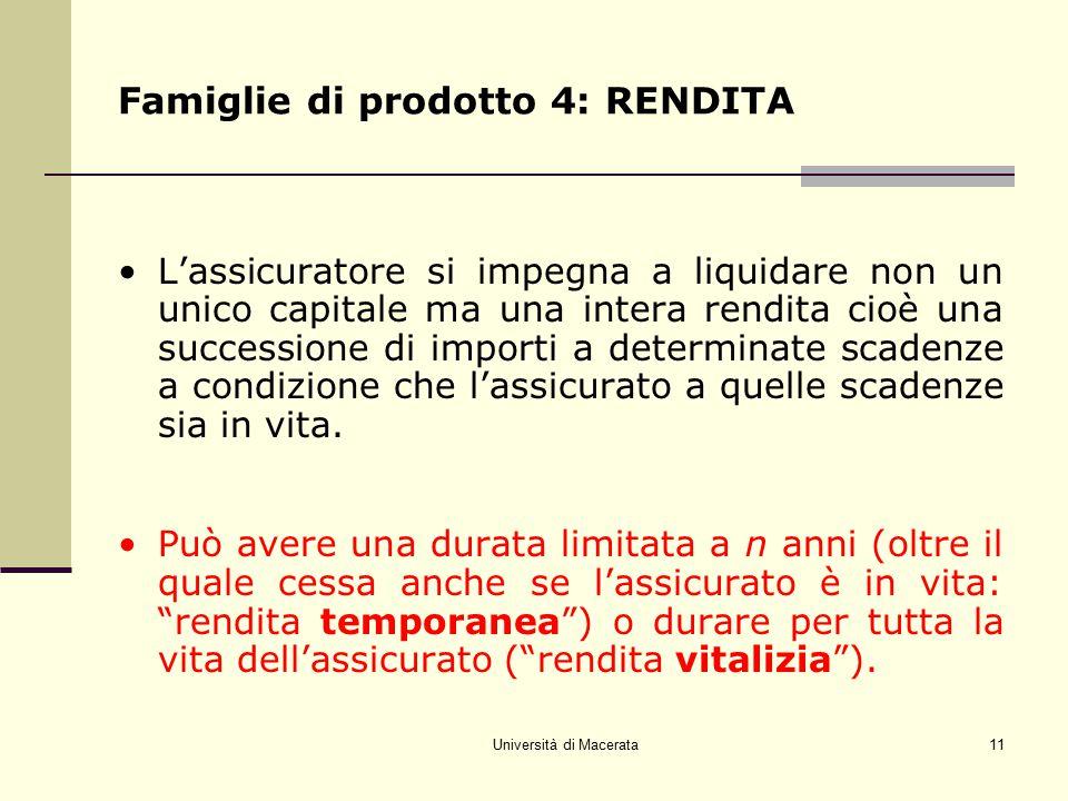 Università di Macerata11 Famiglie di prodotto 4: RENDITA L'assicuratore si impegna a liquidare non un unico capitale ma una intera rendita cioè una su