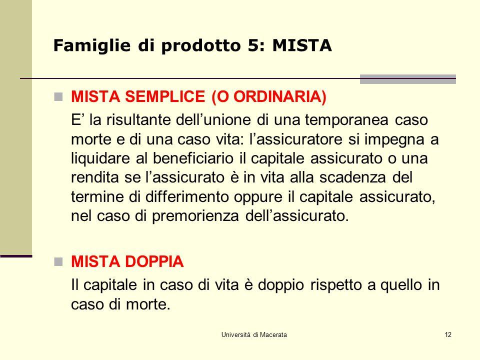 Università di Macerata12 Famiglie di prodotto 5: MISTA MISTA SEMPLICE (O ORDINARIA) E' la risultante dell'unione di una temporanea caso morte e di una