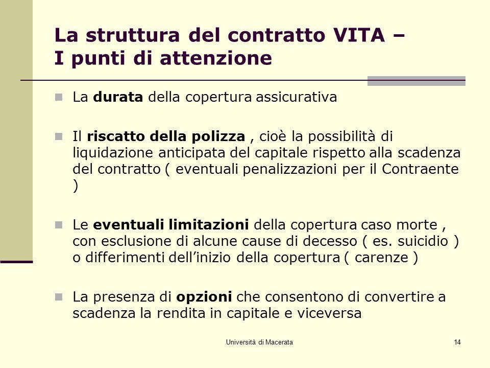 Università di Macerata14 La struttura del contratto VITA – I punti di attenzione La durata della copertura assicurativa Il riscatto della polizza, cio
