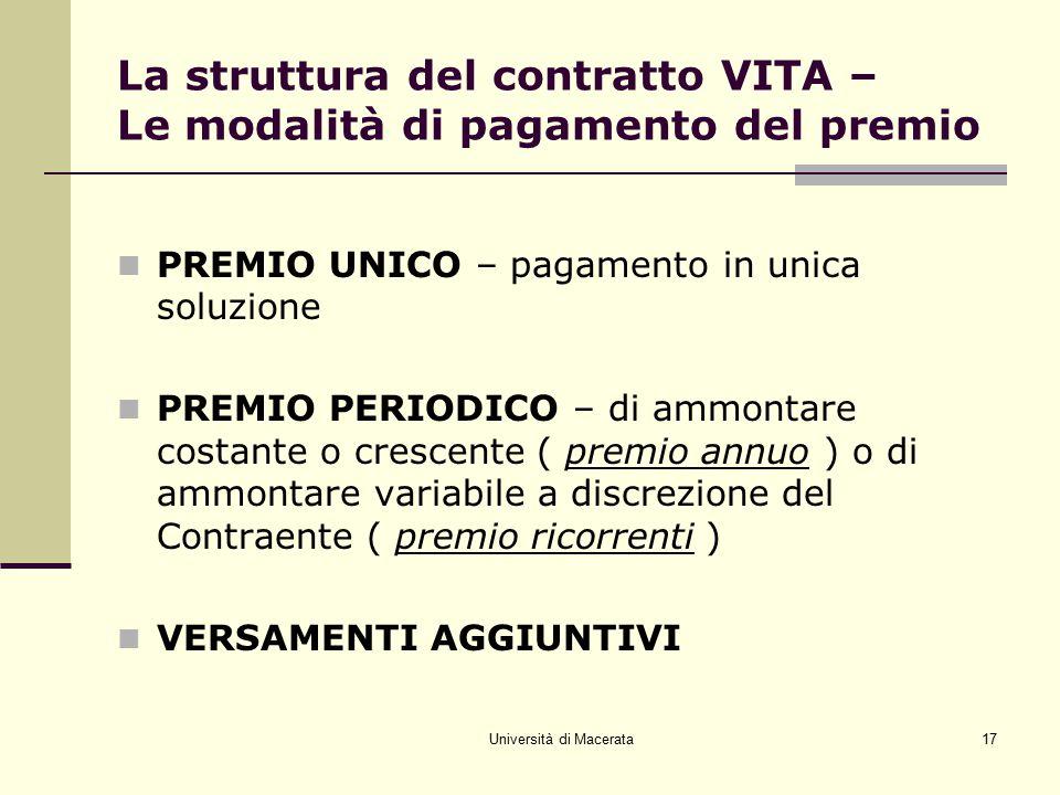 Università di Macerata17 La struttura del contratto VITA – Le modalità di pagamento del premio PREMIO UNICO – pagamento in unica soluzione PREMIO PERI