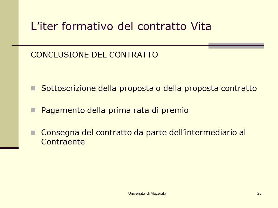 Università di Macerata20 L'iter formativo del contratto Vita CONCLUSIONE DEL CONTRATTO Sottoscrizione della proposta o della proposta contratto Pagame