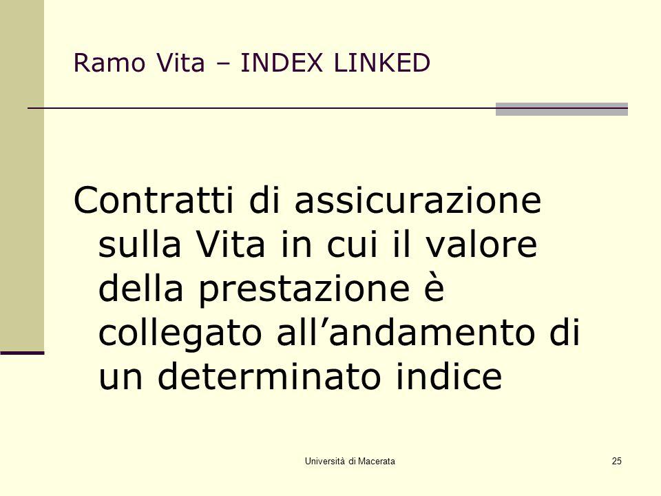 Università di Macerata25 Ramo Vita – INDEX LINKED Contratti di assicurazione sulla Vita in cui il valore della prestazione è collegato all'andamento d