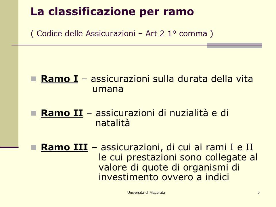 Università di Macerata5 La classificazione per ramo ( Codice delle Assicurazioni – Art 2 1° comma ) Ramo I – assicurazioni sulla durata della vita uma