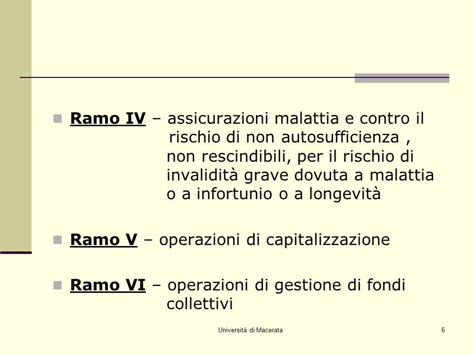 Università di Macerata6 Ramo IV – assicurazioni malattia e contro il rischio di non autosufficienza, non rescindibili, per il rischio di invalidità gr