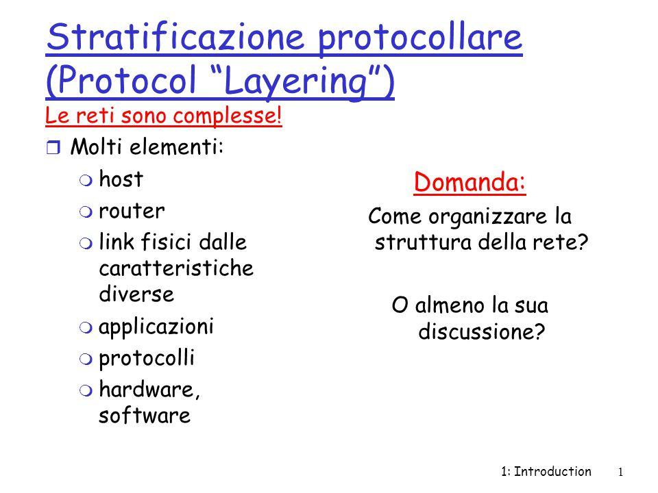1: Introduction1 Stratificazione protocollare (Protocol Layering ) Le reti sono complesse.