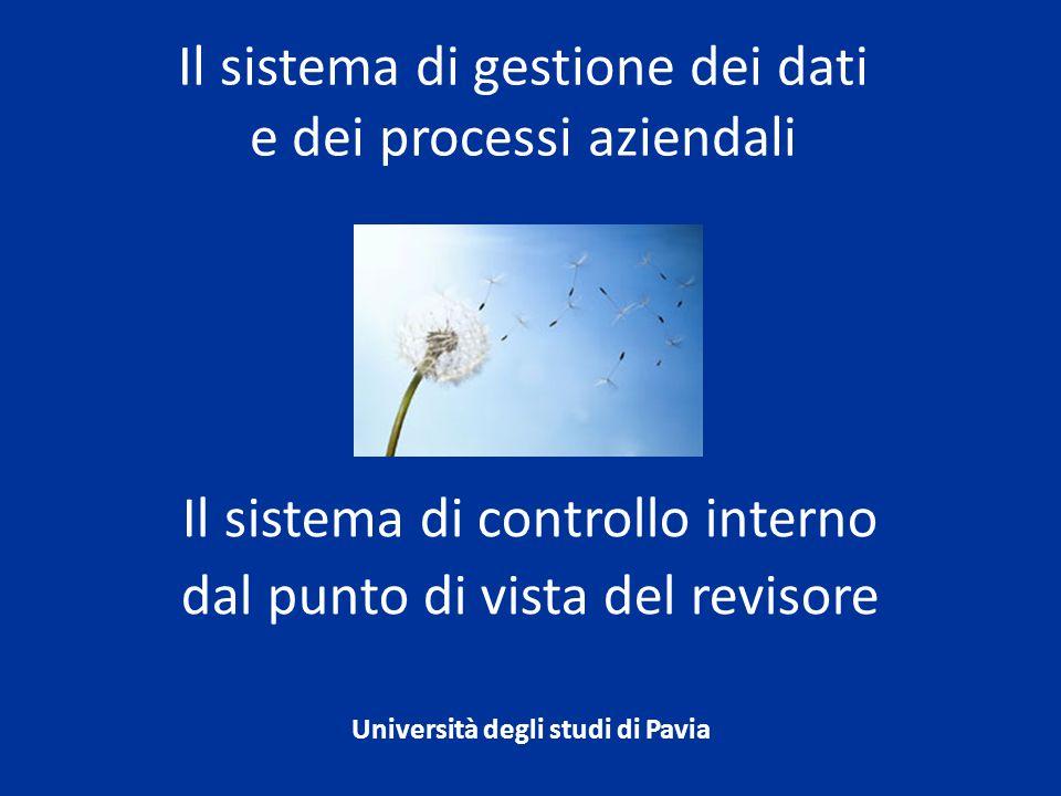 Il sistema di controllo interno dal punto di vista del revisore Università degli studi di Pavia Il sistema di gestione dei dati e dei processi azienda