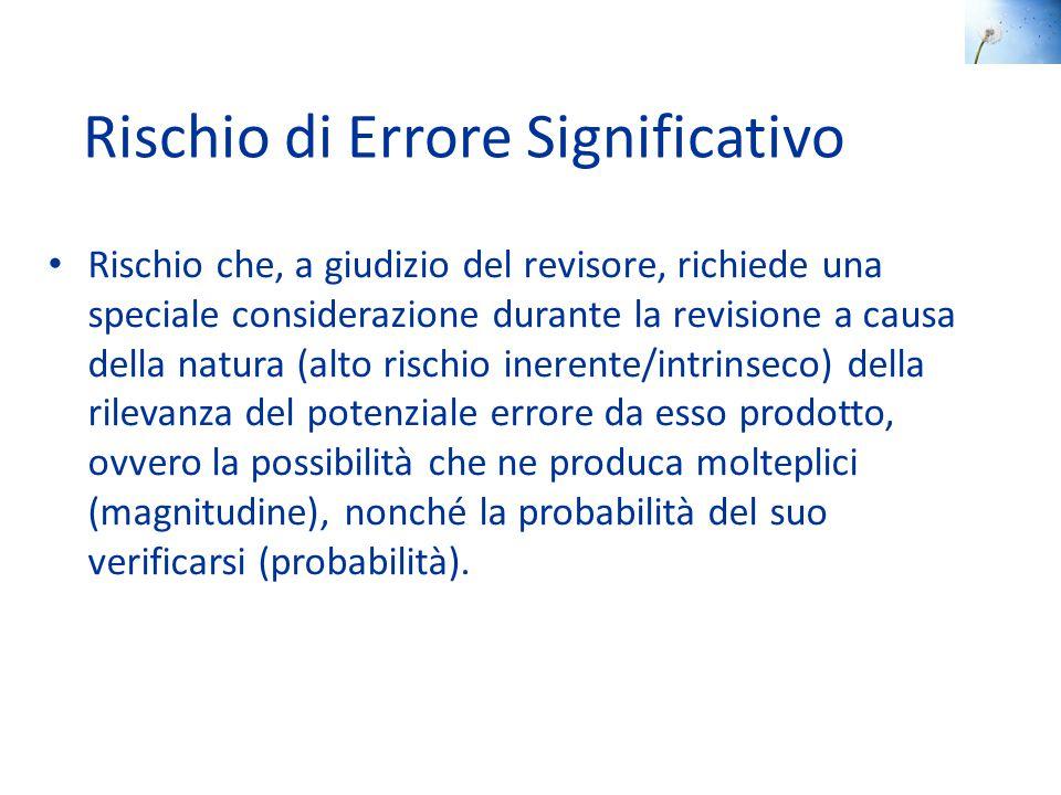 Rischio di Errore Significativo Rischio che, a giudizio del revisore, richiede una speciale considerazione durante la revisione a causa della natura (