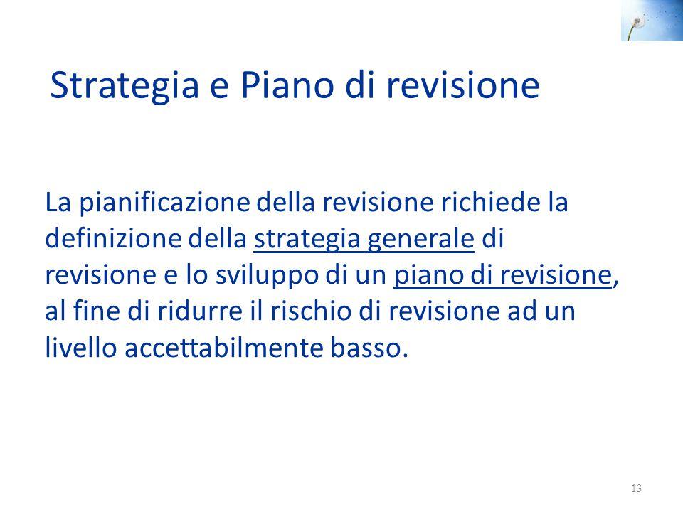Strategia e Piano di revisione La pianificazione della revisione richiede la definizione della strategia generale di revisione e lo sviluppo di un pia