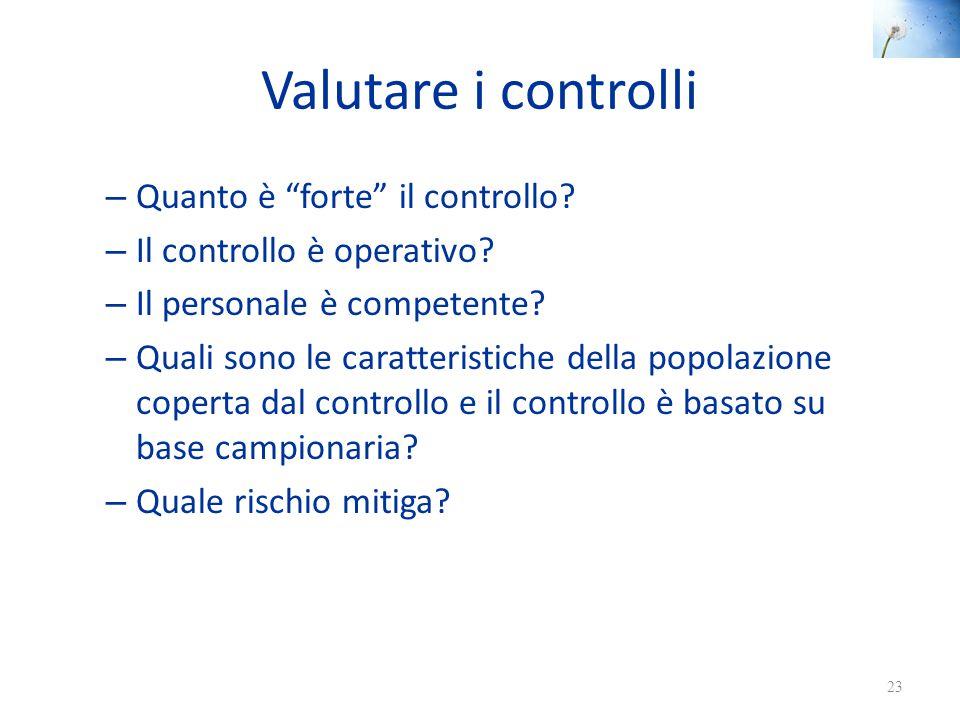 """Valutare i controlli – Quanto è """"forte"""" il controllo? – Il controllo è operativo? – Il personale è competente? – Quali sono le caratteristiche della p"""