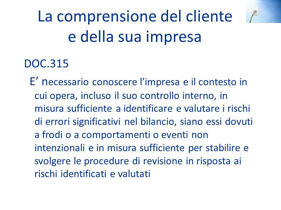 La comprensione del cliente e della sua impresa DOC.315 E' n ecessario conoscere l'impresa e il contesto in cui opera, incluso il suo controllo intern