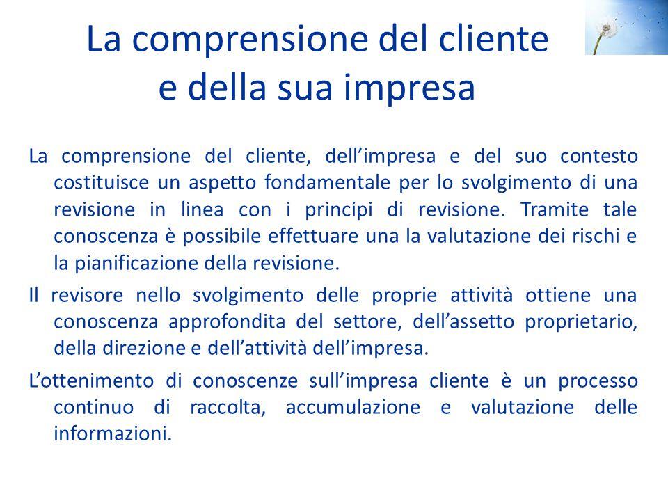 La comprensione del cliente e della sua impresa La comprensione del cliente, dell'impresa e del suo contesto costituisce un aspetto fondamentale per l