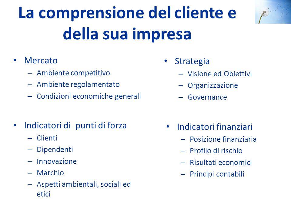 La comprensione del cliente e della sua impresa Mercato – Ambiente competitivo – Ambiente regolamentato – Condizioni economiche generali Strategia – V