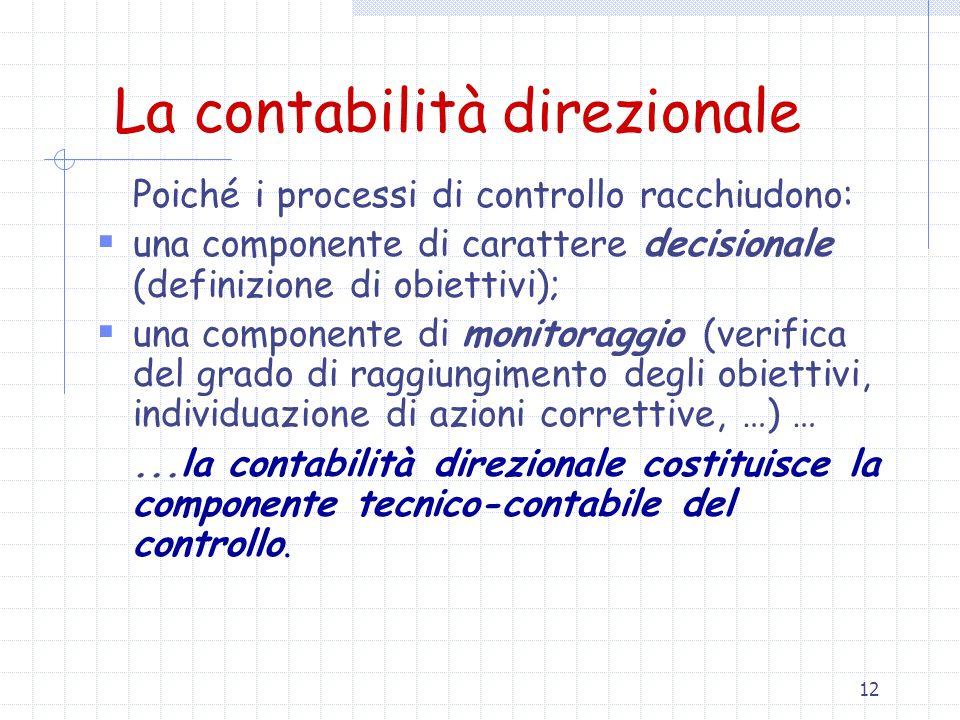 12 La contabilità direzionale Poiché i processi di controllo racchiudono:  una componente di carattere decisionale (definizione di obiettivi);  una componente di monitoraggio (verifica del grado di raggiungimento degli obiettivi, individuazione di azioni correttive, …) …...la contabilità direzionale costituisce la componente tecnico-contabile del controllo.