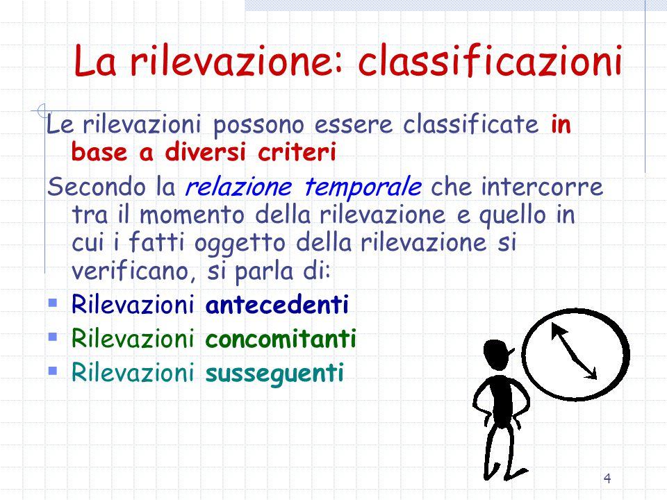 5 La rilevazione: classificazioni Secondo la possibilità di istituire una relazione tra le singole annotazioni, si parla di:  Rilevazioni elementari  Rilevazioni complesse o sistematiche