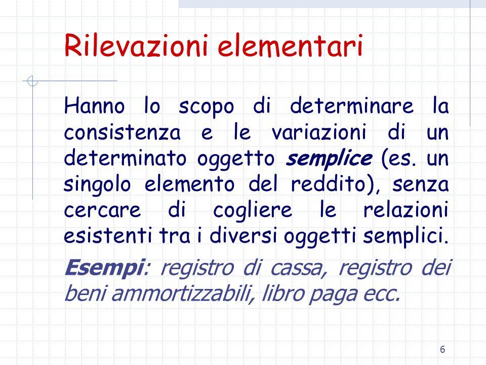 6 Rilevazioni elementari Hanno lo scopo di determinare la consistenza e le variazioni di un determinato oggetto semplice (es.