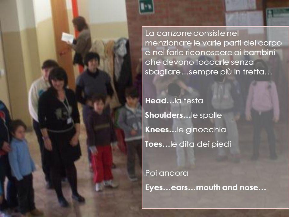 La canzone consiste nel menzionare le varie parti del corpo e nel farle riconoscere ai bambini che devono toccarle senza sbagliare…sempre più in fretta… Head… la testa Shoulders… le spalle Knees… le ginocchia Toes… le dita dei piedi Poi ancora Eyes…ears…mouth and nose…