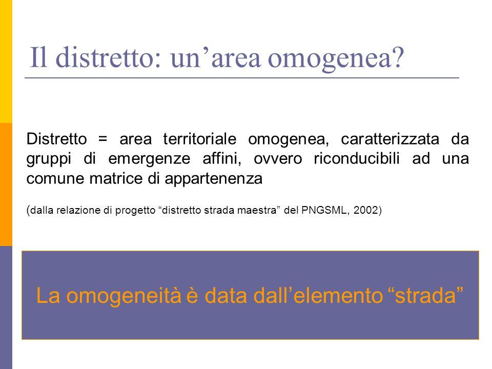 Il distretto: un'area omogenea.