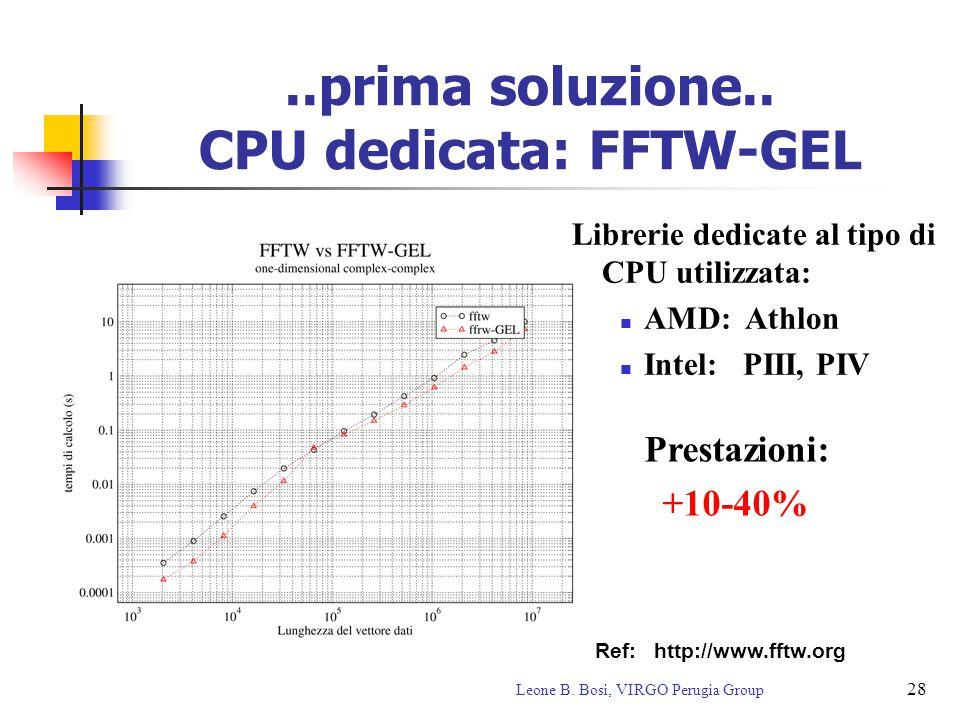 28 Leone B. Bosi, VIRGO Perugia Group..prima soluzione.. CPU dedicata: FFTW-GEL Librerie dedicate al tipo di CPU utilizzata: AMD: Athlon Intel: PIII,